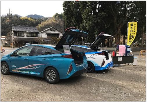 豊田市防災訓練 電気自動車に繋げて使えるIZUMIせせらぎ